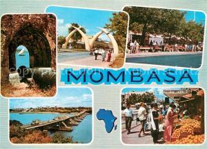 AK / Ansichtskarte Mombasa Gateway to East Africa Stosszaehne Kanone Bruecke Markt Mombasa