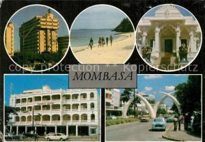 AK / Ansichtskarte Mombasa Gebaeude Hotel Strand Stosszaehne Gateway to East Africa Mombasa