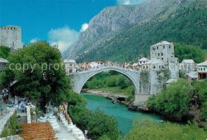 AK / Ansichtskarte Mostar_Moctap Bruecke ueber die Neretva Mostar_Moctap