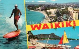 AK / Ansichtskarte Waikiki Panorama Strand Surfen Wassersport