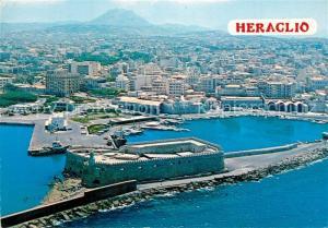 AK / Ansichtskarte Heraclion_Iraklio Venetian harbour Festung Hafen Fliegeraufnahme Heraclion Iraklio