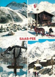 AK / Ansichtskarte Saas Fee Teilansichten Wintersportplatz Walliser Alpen Pferdeschlitten Saas Fee