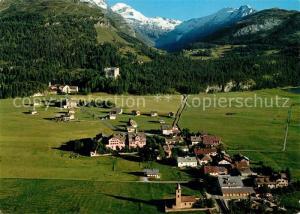AK / Ansichtskarte Sils_Baselgia und Sils Maria Alpenpanorama Fliegeraufnahme Sils Baselgia