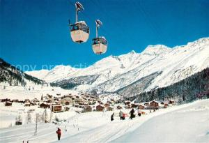 AK / Ansichtskarte Saas Fee Panorama Wintersportplatz Luftseilbahn Spielboden Laengfluh Fletschhorn Lagginhorn Walliser Alpen Saas Fee