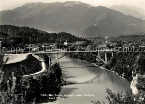 AK / Ansichtskarte Reichenau_GR mit neuer Bruecke nach Flims Alpen Reichenau GR