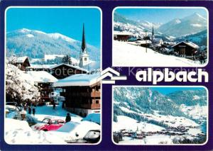 AK / Ansichtskarte Alpbach Hotel Alphof Ortsmotiv mit Kirche Winterlandschaft Alpenpanorama Alpbach