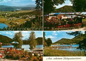 AK / Ansichtskarte Seelach_Klopeinersee Panorama Unterberg Uferpartie am See Terrassencafe Seelach_Klopeinersee