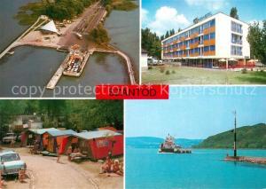 AK / Ansichtskarte Szantod Hotel Campingplatz Hafen Faehre Fliegeraufnahme Szantod