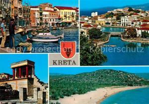 AK / Ansichtskarte Kreta_Crete Hafen Fischerdorf Strand Tempel Antike Staette Kreta Crete