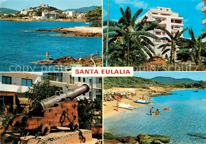 AK / Ansichtskarte Santa_Eulalia_del_Rio Kuestenpanorama Hotel Kanone Strand Santa_Eulalia_del_Rio 0