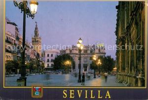 AK / Ansichtskarte Sevilla_Andalucia Plaza de San Francisco de noche Sevilla_Andalucia