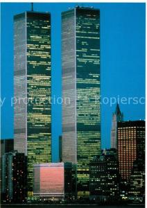 AK / Ansichtskarte New_York_City World Trade Center Twin Towers at night New_York_City