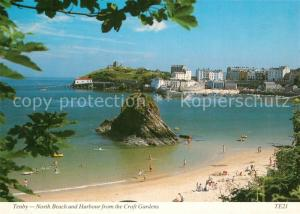 AK / Ansichtskarte Tenby North Beach and Harbour from the Croft Gardens Tenby