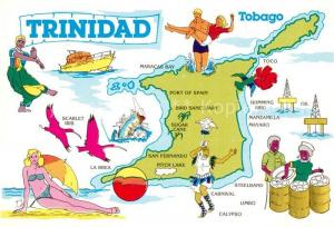 AK / Ansichtskarte Trinidad_and_Tobago Landkarte Insel Karikaturen Kuenstlerkarte