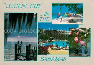 AK / Ansichtskarte Bahamas Sonnenuntergang Strand Flamingos Hotel Swimming Pool Bahamas
