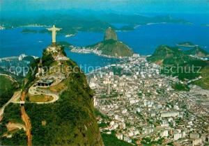 AK / Ansichtskarte Rio_de_Janeiro Fliegeraufnahme Corcovado Guanabara Bay Rio_de_Janeiro