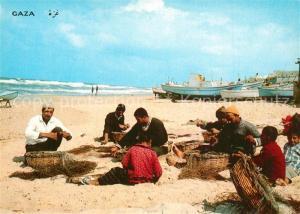 AK / Ansichtskarte Gaza_City Strand Fischer Netze Gaza_City