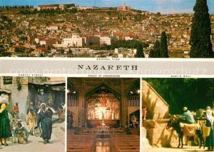 AK / Ansichtskarte Nazareth_Israel Market Street Church of Annunciation Marys Well Nazareth Israel