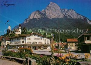 AK / Ansichtskarte Sargans Dorfplatz mit Gonzen Sargans