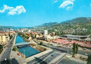 AK / Ansichtskarte Sarajevo Fliegeraufnahme Br?ckenpartie Sarajevo