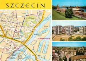 AK / Ansichtskarte Szczecin_Stettin Fliegeraufnahme Hafen Starego Miasta Landkarte Szczecin_Stettin