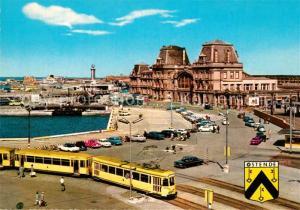 AK / Ansichtskarte Ostende_Oostende Bahnhof Strassenbahn