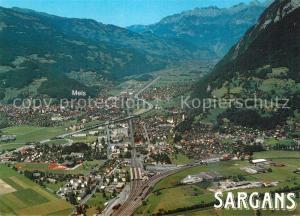 AK / Ansichtskarte Sargans Fliegeraufnahme mit Mels Seeztal Churfirsten Sargans