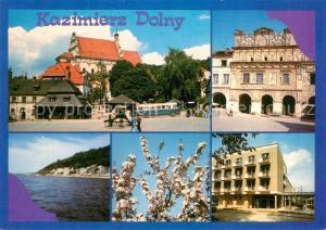 AK / Ansichtskarte Kazimierz_Dolny Marktplatz Kirche Historisches Gebaeude Wohnblock Baumbluete Partie an der Weichsel Kazimierz Dolny