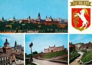 AK / Ansichtskarte Lublin_Lubelskie Stadtpanorama Krakauer Tor Schloss Altstadt Wappen Lublin Lubelskie