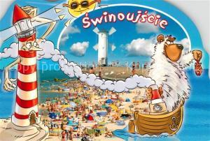 AK / Ansichtskarte Swinoujscie_Swinemuende Windmuehle Strand Leuchtturm Karikaturen Swinoujscie Swinemuende