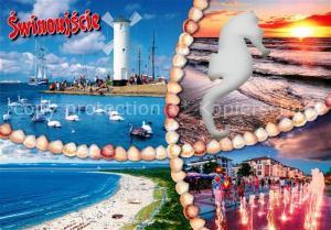 AK / Ansichtskarte Swinoujscie_Swinemuende Strand Schwaene Windmuehle Seepferdchen Sonnenuntergang Wasserspiele Swinoujscie Swinemuende