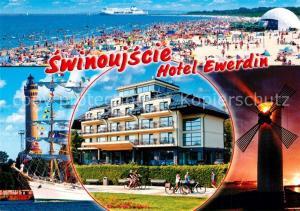AK / Ansichtskarte Swinoujscie_Swinemuende Strandleben Hotel Ewerdin Segelyacht Leuchtturm Windmuehle Swinoujscie Swinemuende