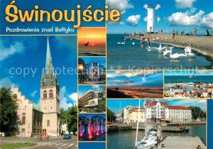 AK / Ansichtskarte Swinoujscie_Swinemuende Kirche Wasserspiele Strand Windmuehle Hafen Swinoujscie Swinemuende