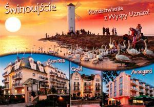 AK / Ansichtskarte Swinoujscie_Swinemuende Sonnenuntergang Windmuehle Schwaene Hotels Swinoujscie Swinemuende