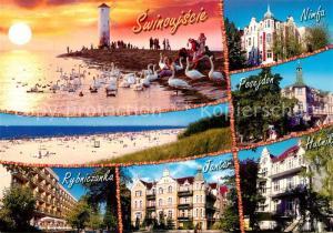 AK / Ansichtskarte Swinoujscie_Swinemuende Strand Windmuehle Sonnenuntergang Hotels Swinoujscie Swinemuende