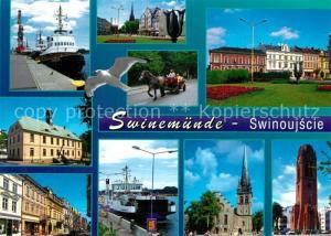 AK / Ansichtskarte Swinemuende_Swinoujscie Hafen Dampfer Sehenswuerdigkeiten der Stadt Kirche Pferdewagen Swinemuende Swinoujscie