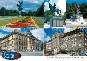 AK / Ansichtskarte Szczecin_Stettin Denkmal Parkanlagen PKO Bankgebaeude Palais Szczecin_Stettin