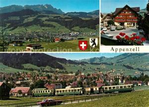 AK / Ansichtskarte Appenzell_IR S?ntis Landsgemeindeplatz Eisenbahn Appenzell IR
