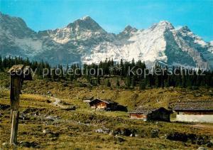 AK / Ansichtskarte Karwendel Ladiz Alm Rast H?tte Eng Alm Kaltwasserkarspitze  Karwendel
