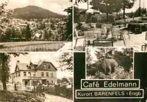 AK / Ansichtskarte Baerenfels_Erzgebirge Panorama Cafe Edelmann Terrasse Garten Baerenfels Erzgebirge