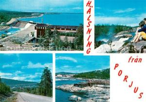 AK / Ansichtskarte Porjus Panorama Staumauer Wasserfall