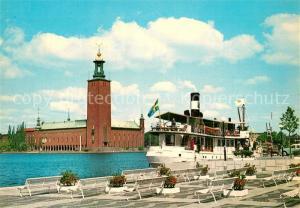 AK / Ansichtskarte Stockholm Stadshuset Dampfer Stockholm