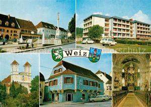 AK / Ansichtskarte Weiz_Steiermark Teilansichten Alte Haeuser Wohnblock Kirche Innenansicht Weiz_Steiermark