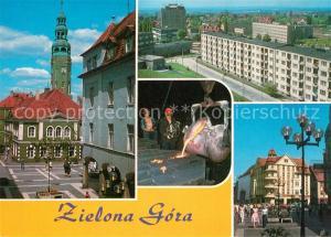AK / Ansichtskarte Zielona_Gora Rathaus Siedlung Hochhaeuser Wohnblocks Giesserei Platz Innenstadt Zielona Gora