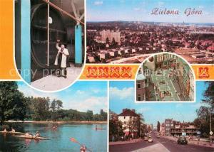 AK / Ansichtskarte Zielona_Gora Weingut Weinfass Stadtpanorama Innenstadt Stausee Kanu Strassenpartie Westerplatte Zielona Gora