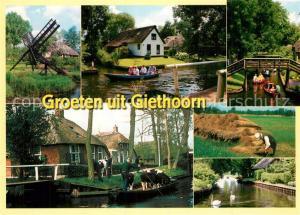 AK / Ansichtskarte Giethoorn Wohnhaeuser Grachten Kahn Feldarbeit Giethoorn