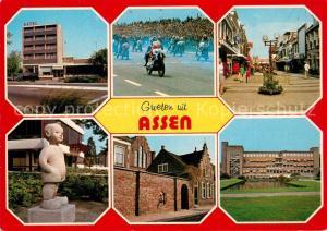 AK / Ansichtskarte Assen Hotel Motorradrennen Fussgaengerzone Statue Alte Haeuser Assen