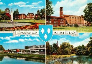 AK / Ansichtskarte Almelo Teilansichten Denkmal Kirche Partie am Wasser Almelo