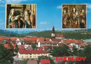 Bardejov Plastiky z kostola sv. Egidia Muzeum Skulpturen Ansicht mit Kirche Bardejov