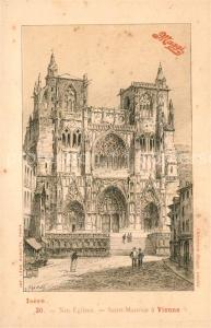 Vienne_Isere Eglise Saint Maurice Dessin Kuenstlerkarte Maggi Werbung Vienne Isere